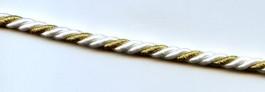 Cordon blanc et or diamètre 5 mm
