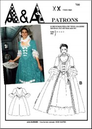 Marchioness dress and petticoat with ribs P700