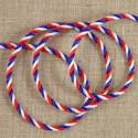 Cordon tricolore torsadé satiné 3 mm