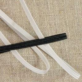 Elastique tresse plate de 3 à 13 mm blanc cassé ou noir