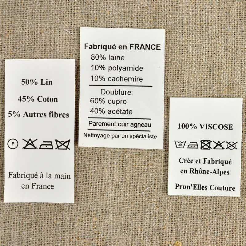 Tiquettes textile imprim es sur taffetas a a patrons - Triangle sur etiquette vetement ...