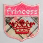 """Petit écusson brodé thermocollant couronne rouge """"Princess"""""""