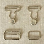 Attache salopette argent, boucle et bouton 25, 30 et 40 mm
