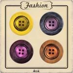 Bouton bois et nacre jaune, mauve, orange et rose