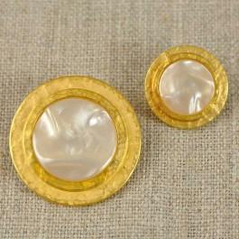 Bouton or à coeur nacré 18 ou 28mm