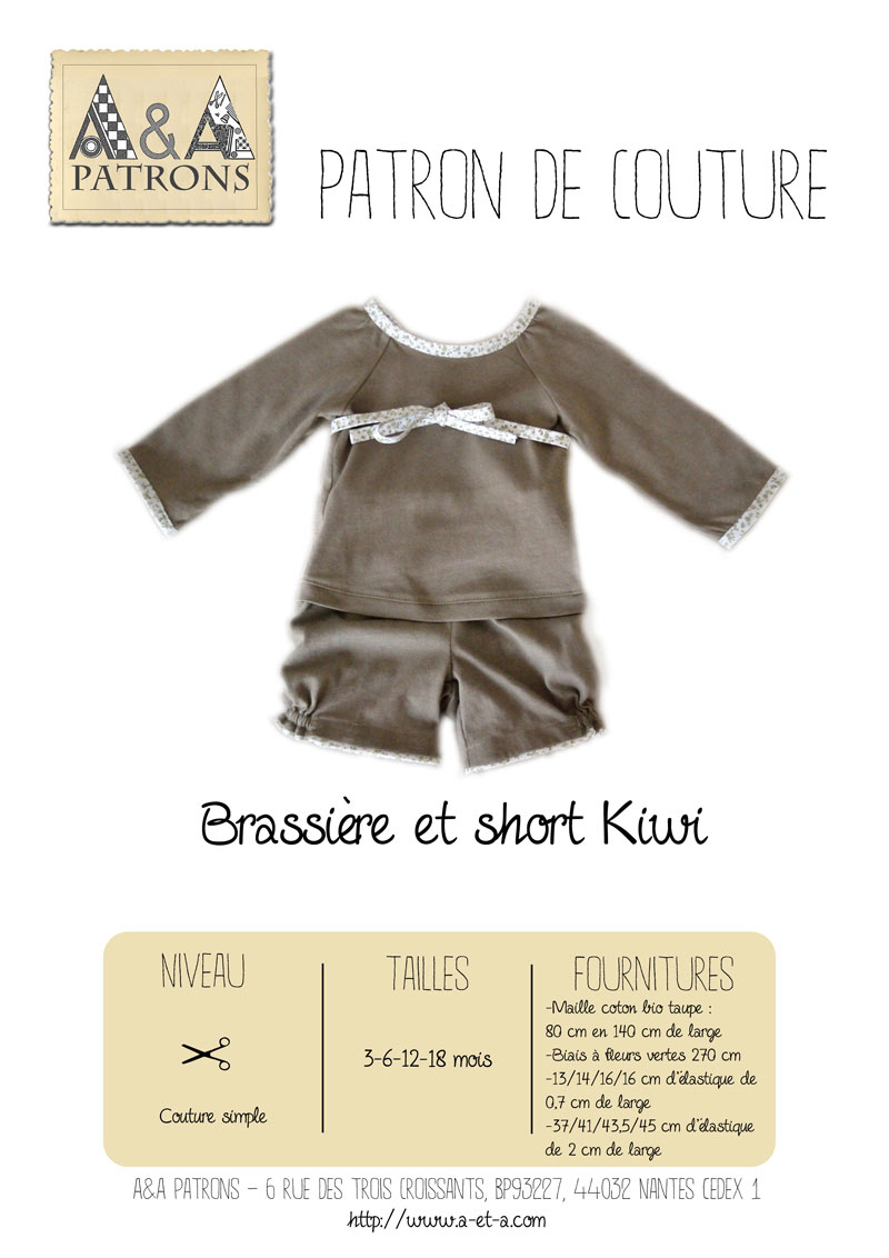 Sewing pattern : Baby's vest and shorts Kiwi in organic jersey