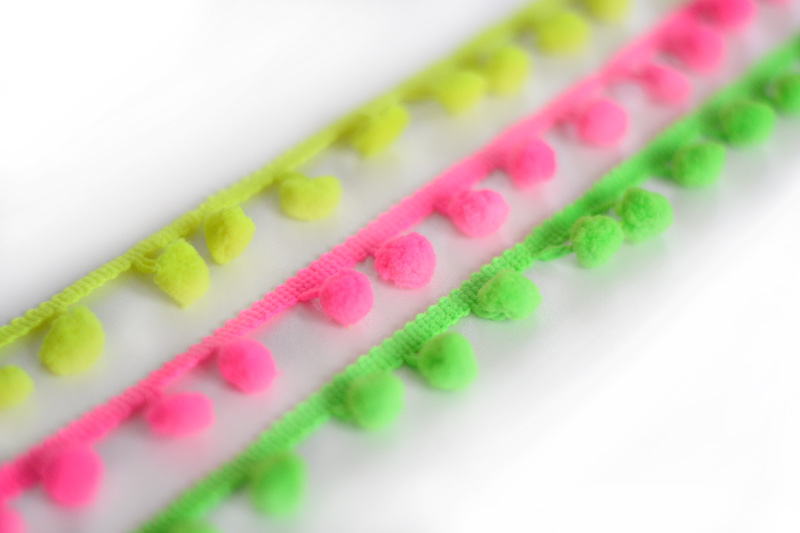 fluorescent pompom braid