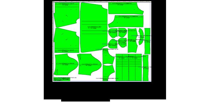 Gradation - Placement : Le patronnage est gradé suivant un tableau d'évolution mis au point au sein du bureau d'études à partir des mensurations IFTH (Institut Français du Textile et de l'Habillement) et du style du modèle.