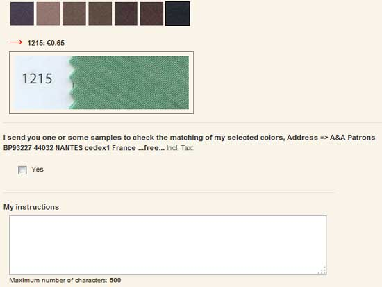 Option: I send my sample for checking the color shade