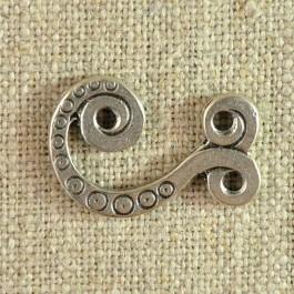 Crochet métal argent vieilli