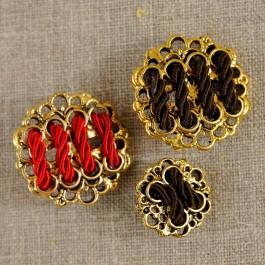 Bouton or et passementerie 20 ou 30 mm 2 couleurs