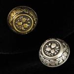 Bouton métal rond motif fleur 15 mm