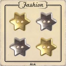 Bouton or et argent étoile enfant