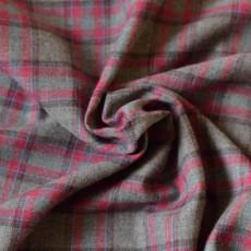 Tissu flanelle coton carreaux gris et rouge framboise