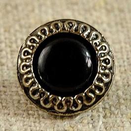 Bouton à centre noir billant couronné d'argent 11 mm