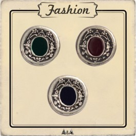Bouton ovale argent gravé, centre rouge, bleu ou vert