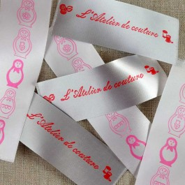 Clothing labels printed on satin 30 mm
