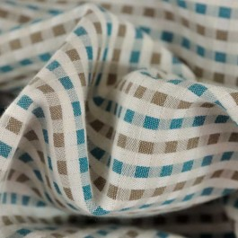 Tissu petits carreaux bleu-vert/taupe 125g/m2 BIO