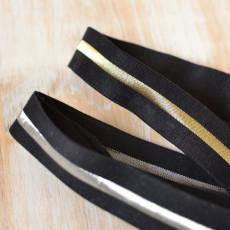 Biais élastique lingerie bombers noir et ligne or ou argent
