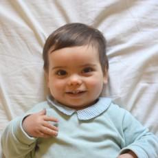 Patron couture pyjam dors-bien bébé à col en nicky velours jersey bio vert amande