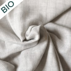Tissu double gaze lange en coton bio gris chiné