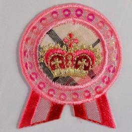 Petite application brodée thermocollante couronne rose et dorée