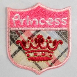 "Petit écusson brodé thermocollant couronne rouge ""Princess"""