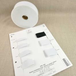 Rouleaux élastique cotelé 25 m 10 à 40 mm blanc ou noir