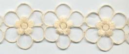 Fleurs brodées sur une base voile 55 mm