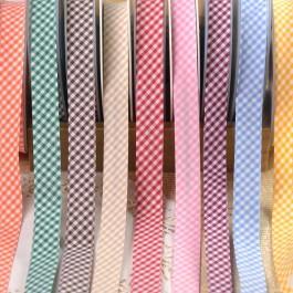 Biais vichy orange, vert, marron, jaune, rouge, rose, violet, ble et jaune