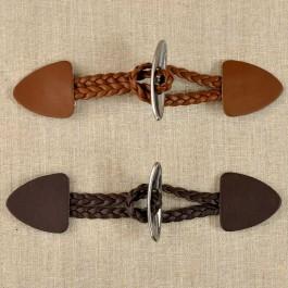 Brandebourg simili cuir tressé et métal 160 mm