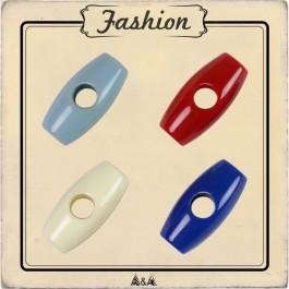 Bouton buchette rouge, bleu et blanc pour enfant
