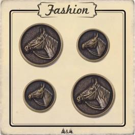 Bouton métal Cheval équitation, 15 et 20 mm de diamètre