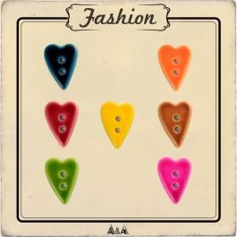 Bouton coeur couture enfant 7 couleurs