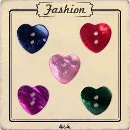 Bouton nacré coeur 5 couleurs : bleu, vert, rouge, rose et violet