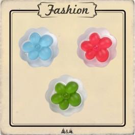 Bouton fleur bleu rouge et vert avec contour transparent
