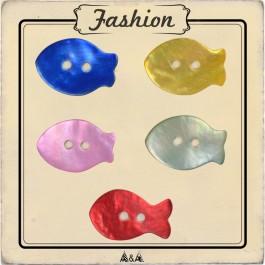 Bouton poisson nacre rouge, bleu, jaune, naturel et rose