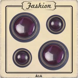 Bouton violet bois et verre