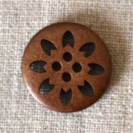 Bouton bois rond avec fleur inscrustée
