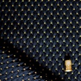 Tissu piqué noir avec broderie dorées