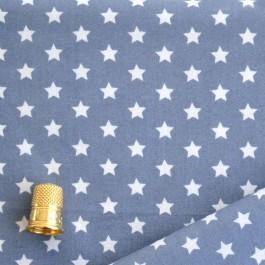 Cotonnade bleu gris à étoiles blanches