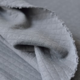 Jersey matelassé gris souris en coton bio