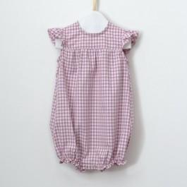 Patron couture bébé combinaison volant vichy rose fille