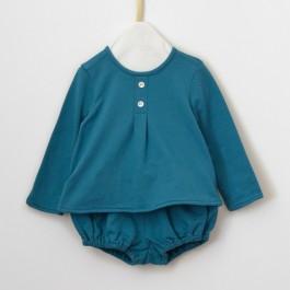 Patron couture bébé guimpe et bloomer en tissu sweat fin bio bleu canard