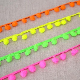 Galon à pompons fluo rose, jaune, vert et orange