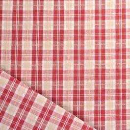 toile de coton à carreaux rouge et écru