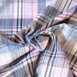 Tissu voile de coton à carreaux rose et bleu marine