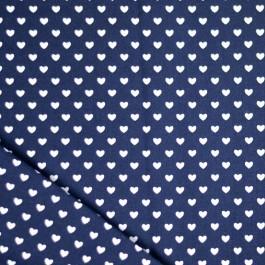 Tissu coeurs bleu marine coton