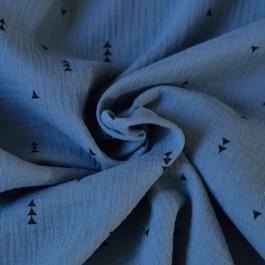 Tissu double gaze triangles noirs bleu jean