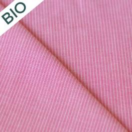 Tissu rayé rose coton bio